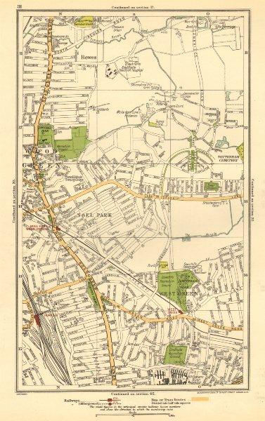 Associate Product WOOD GREEN. Tottenham, Bowes, Noel Park, West Green, Turnpike Lane 1923 map