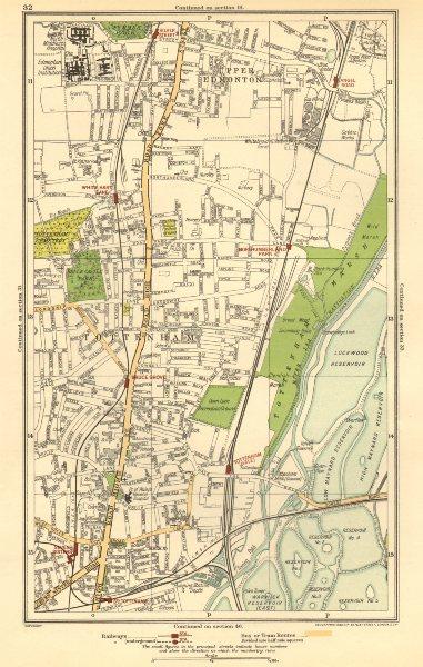 Associate Product TOTTENHAM. Upper Edmonton, White Hart Lane, Seven Sisters, Angel Road 1923 map