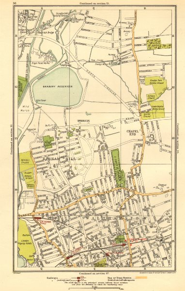 Associate Product LONDON. Chapel End, Higham Hill, Walthamstow, Black Horse Road 1923 old map