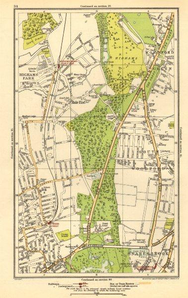 Associate Product WOODFORD GREEN. Hale End, Highams Park, Snaresbrook, Wanstead 1923 old map
