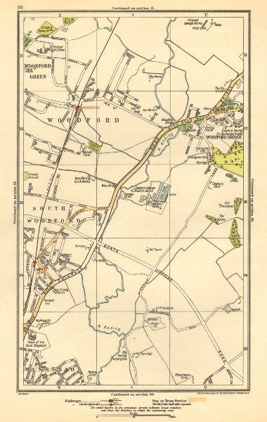 Associate Product LONDON. South Woodford, Woodfood Bridge, Wanstead, Redbridge, Ilford 1923 map