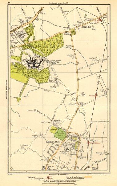 Associate Product LONDON. Barkingside, Grange Hill, Mossford Green, Fairlop 1923 old vintage map