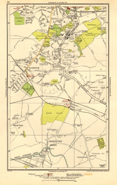 Associate Product LONDON. Greenford Green,Harrow,Harrow on the Hill,Roxeth,Sudbury Hill 1923 map
