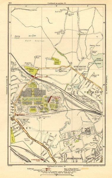 Associate Product WEMBLEY. Kingsbury, Neasden, Church End, British Empire Exhibition 1923 map