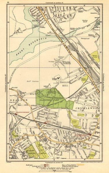 Associate Product WILLESDEN GREEN. Cricklewood,Dollis Hill,Neasden,Cricklewood,Hendon 1923 map
