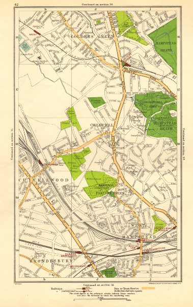 Associate Product CRICKLEWOOD. Brondesbury,Fortune/Golders Green,Hampstead,Child's Hill 1923 map