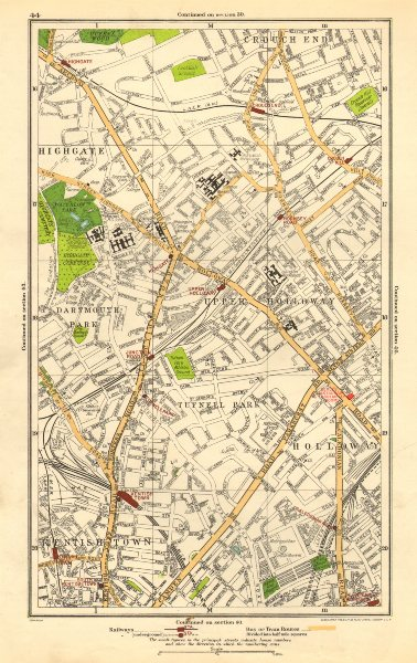 Associate Product HOLLOWAY.Crouch End,Tufnell Park,Highgate,Kentish Town,Dartmouth Park 1923 map
