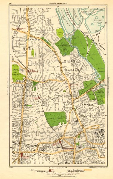 Associate Product STOKE NEWINGTON. Dalston, Clapton, Stamford Hill, Upper Clapton 1923 old map