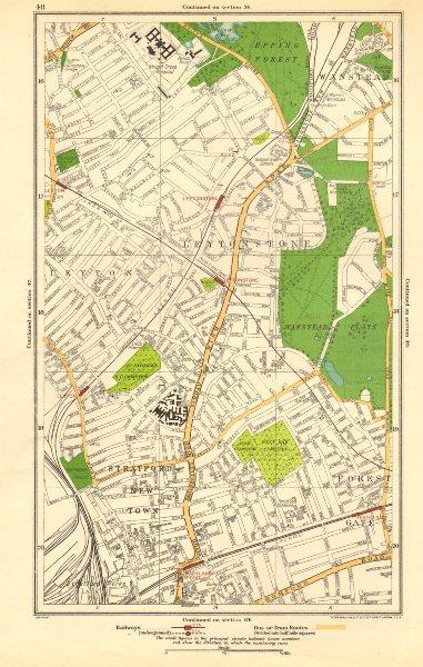 Associate Product LEYTON LEYTONSTONE. Forest Gate, Stratford, Wanstead, Woodgrange Park 1923 map