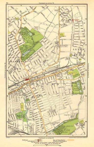 Associate Product LONDON. Cranbrook Park,Ilford,Newbury Park,Seven Kings,Barking Park 1923 map