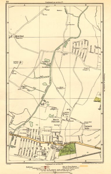 Associate Product MIDDLESEX. Dormer's Wells, Mount Pleasant, Southall, West End 1923 old map