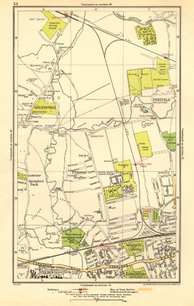 Associate Product GREENFORD.Perivale,West Ealing,Hanwell,Elthorne Heights,Drayton Green 1923 map