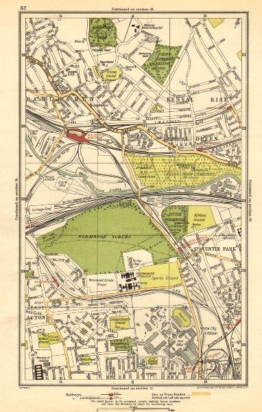 Associate Product KENSAL. Green/Rise; Acton,Harlesden,Shepherd's Bush,Brondesbury Park 1923 map