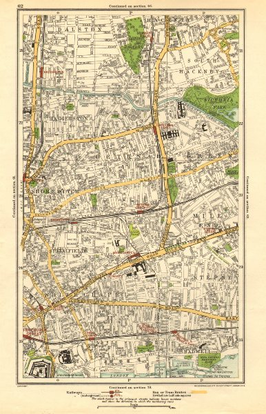 Associate Product EAST END.Shoreditch,Bethnal Green,Stepney,Hackney,Mile End,Haggerston 1923 map