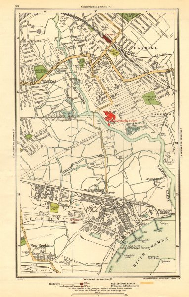 Associate Product LONDON. Barking, Beckton, Cyprus, New Beckton, Wall End 1923 old vintage map