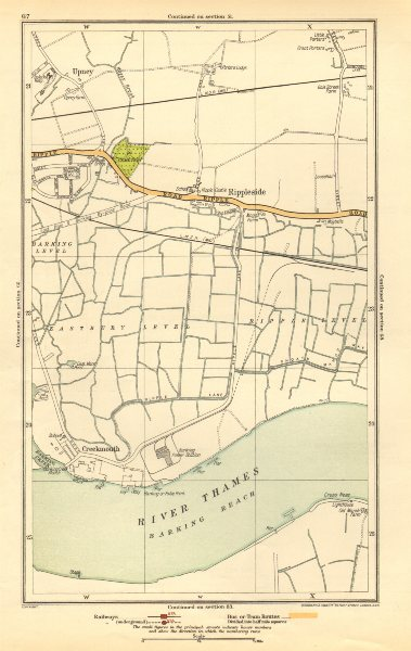 Associate Product LONDON. Creekmouth, Rippleside, Upney, Becontree, Thamesmead 1923 old map