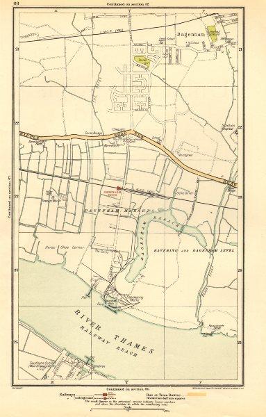 Associate Product LONDON. Dagenham, Hornchurch, Thamesmead, Dagenham Dock 1923 old vintage map