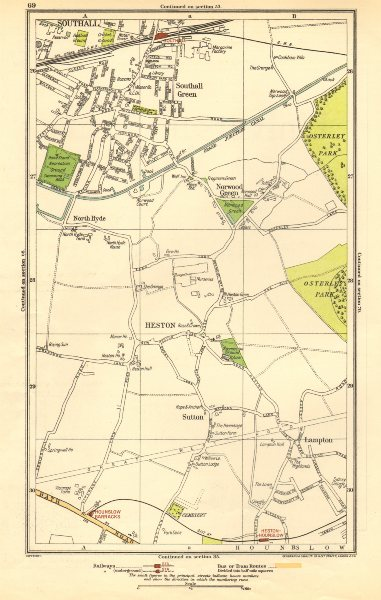 Associate Product HESTON. Hounslow,Lampton,Norwood Green,Southall,North Hyde,Sutton 1923 old map