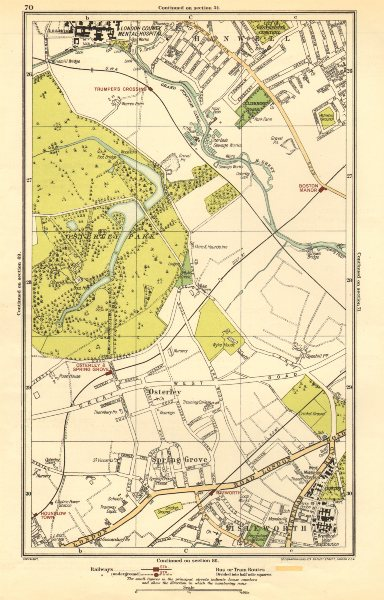 Associate Product LONDON. Isleworth, Osterley, Spring Grove, Hounslow, Boston Manor 1923 old map