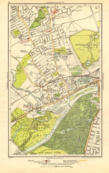 Associate Product LONDON. Brentford,Little Ealing,Northfields,Kew Bridge,South Ealing 1923 map