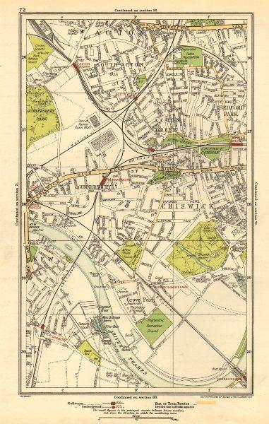 Associate Product CHISWICK. Acton Green, Grove Park, Bedford Park, Kew, Gunnersbury 1923 old map