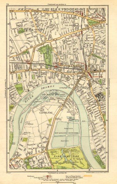 Associate Product HAMMERSMITH. Barnes, Shepherds Bush, Fulham, Castlenau, Starch Green 1923 map