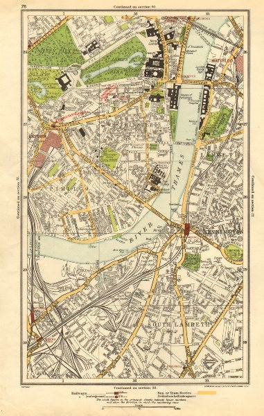 Associate Product LONDON. Lambeth, Westminster, Victoria, Oval, Waterloo, Charing Cross 1923 map