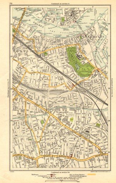 Associate Product LONDON. Bermondsey, Peckham, Rotherhithe, Wapping, Surrey Docks 1923 old map