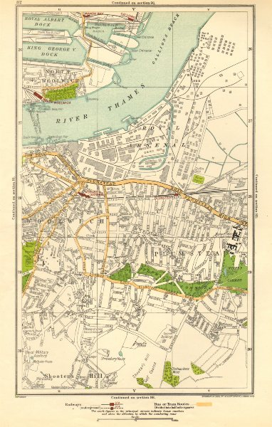 Associate Product LONDON. North Woolwich,Plumstead,Gallions,Manor Way,Woolwich Arsenal 1923 map