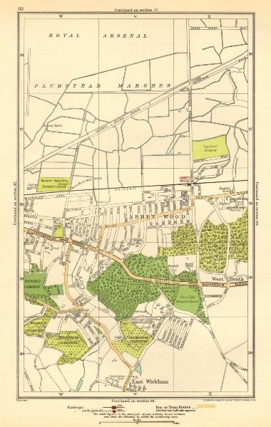 Associate Product WOOLWICH. Abbey Wood, Plumstead, East Wickham, West Heath 1923 old vintage map