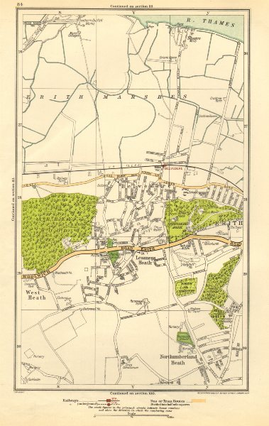 Associate Product LONDON. Belvedere, Erith, Lessness Heath, Northumberland Heath 1923 old map