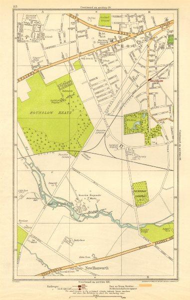 Associate Product LONDON. Hounslow, Hounslow Heath, Whitton Park, New Hanworth 1923 old map
