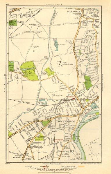 TWICKENHAM. Isleworth, Hounslow, Strawberry Hill, Fulwell; Middlesex 1923 map