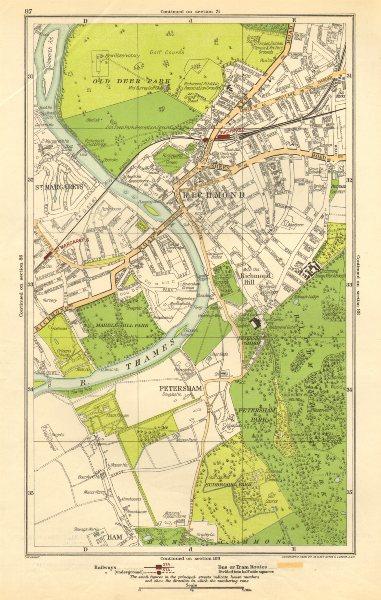 Associate Product LONDON. Ham, Petersham, Richmond, Richmond Hill, St Margaret's 1923 old map