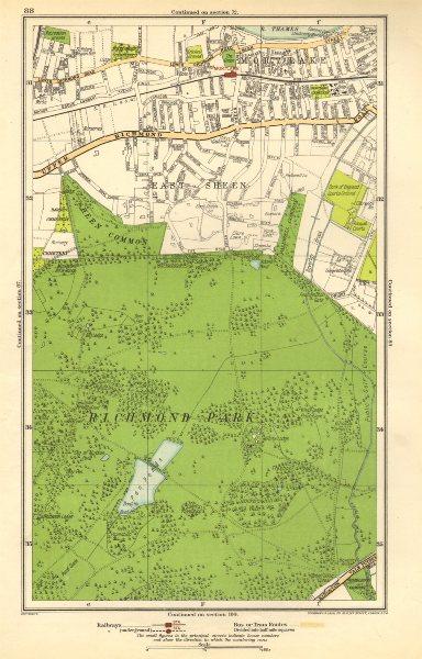 Associate Product LONDON. Richmond Park, East Sheen, Mortlake, North Sheen, Roehampton 1923 map