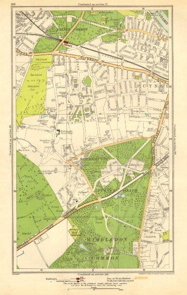 LONDON. Putney Vale,Roehampton,Barnes,Roehampton Park,Barnes Common 1923 map
