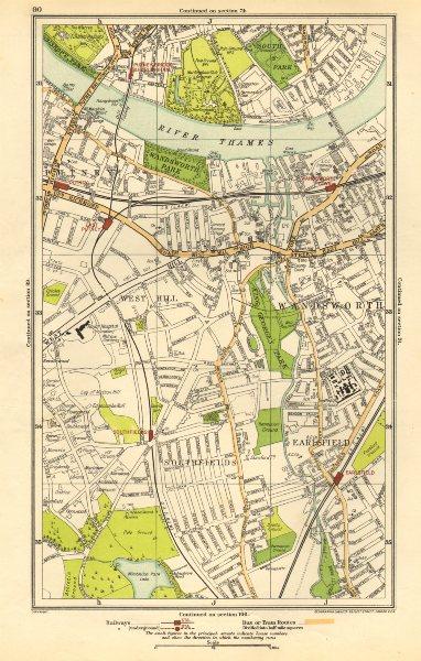 Associate Product WANDSWORTH. Putney,Southfields,Parson's Green,Earlsfield,West Hill 1923 map