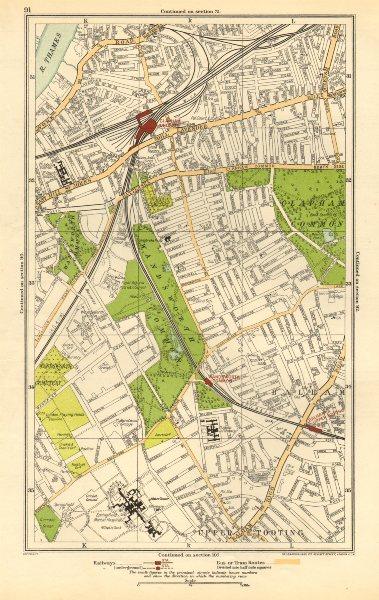 Associate Product CLAPHAM. Wandsworth,Balham,Upper Tooting,Battersea,Clapham Junction 1923 map