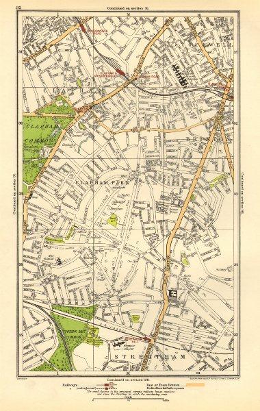 Associate Product LONDON. Brixton, Clapham, Clapham Park, Stockwell, Wandsworth Road 1923 map