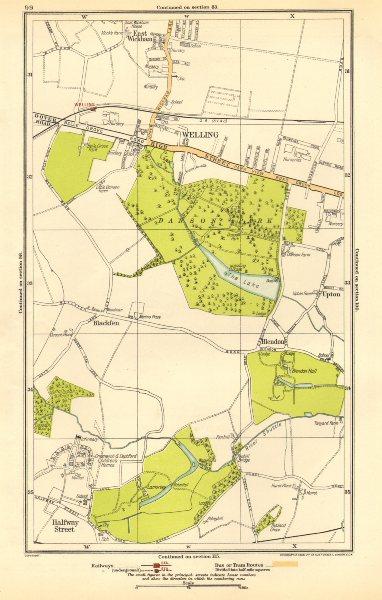 Associate Product BEXLEY. Welling,Blackfen,Blendon,East Wickham,Upton,Halfway Street 1923 map