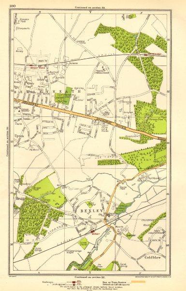Associate Product LONDON. Bexley, Bexleyheath, Bridgen, Coldblow, Upton, Barnehurst 1923 map