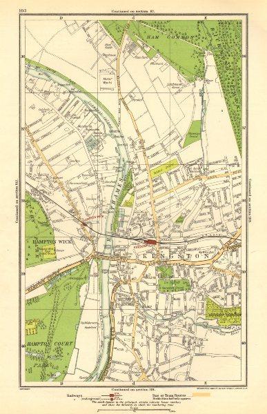 Associate Product KINGSTON UPON THAMES.Teddington,Hampton Wick,Ham Common,Hampton Court 1923 map
