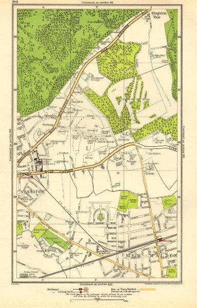 Associate Product NORBITON. Coombe, Kingston Hill, Kingston Vale, New Malden, Malden 1923 map