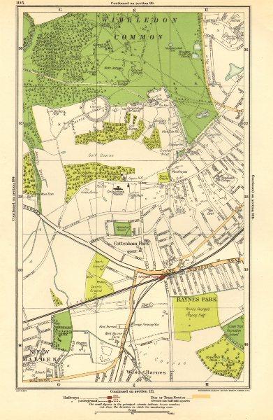Associate Product WIMBLEDON. Raynes Park, Cottenham Park, New Malden, Shannon Corner 1923 map