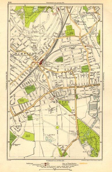 Associate Product LONDON. Merton, South Wimbledon, Summerstown, Haydon's Road, Morden 1923 map