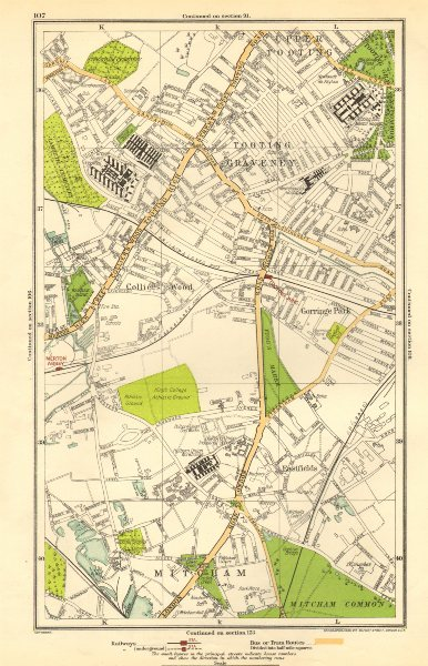 Associate Product MITCHAM. Collier's Wood, Tooting Graveney, Furzedown, Eastfields 1923 old map