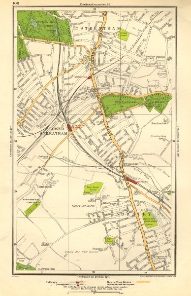 Associate Product LONDON.Lonesome,Lower Streatham,Norbury,Streatham Common,Tooting Bec 1923 map