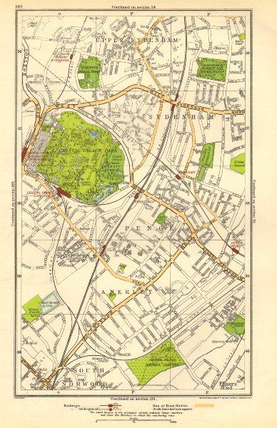 Associate Product SYDENHAM. Anerley, Elmers End, Penge, Crystal Palace, Upper Norwood 1923 map