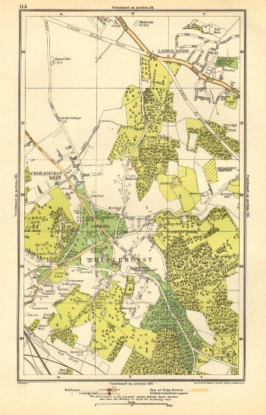 Associate Product CHISLEHURST.Chislehurst West,Longlands,Pett's Wood,Sidcup,Park Wood 1923 map