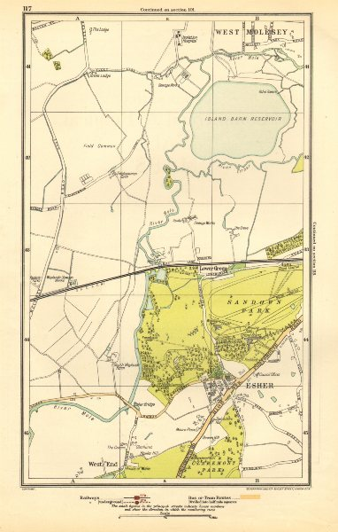 Associate Product SURREY. Esher, Lower Green, West End, Sandown Park, West Molesey 1923 old map